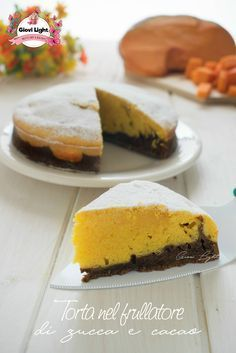 Torta nel frullatore di zucca e cacao Italian Desserts, Italian Recipes, Pumpkin Recipes, Cake Recipes, Light Cakes, Breakfast Time, Cacao, Light Recipes, Biscotti