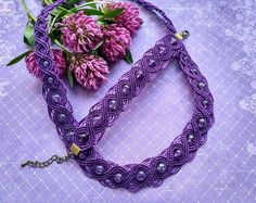 violet set amethyst necklace bracelet macrame waxed thread free shipping