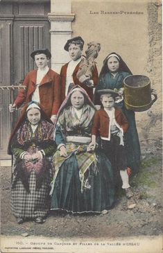 young men and women from the Ossau Valley, French pyrenees, in traditional folk costume.  antique postcard