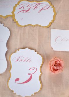 Pink and gold paper goods. Yes, please. Photography by capturedbyaimee.com / Planning, Styling, Floral Design and Stationery by sweetemiliajane.com
