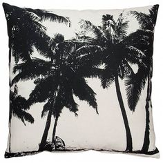 HK-living Cushion palm trees black and white print cotton 60x60cm