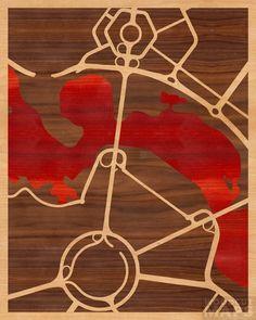 16x20 Woodcut Map of Parkes, Australia