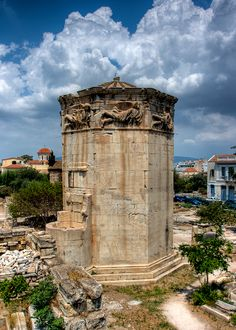 "*GREECE ~ THE TOWER OF THE WINDS: or the Horologion of Andronikos Kyrrhestes is an octagonal Pentelic marble clocktower in the Roman Agora in Plaka Athens that functioned as a horologion or ""timepiece"". The different winds are represented in relief! Acropolis, Parthenon, Mykonos, Santorini, My Athens, Athens Greece, Attica Greece, Ancient Ruins, Ancient Greece"