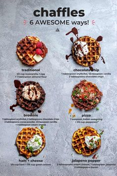 Cheese + eggs = your new low carb breakfast obsession, CHAFFLES! These delicious, versatile healthy treats are great for busy mornings or weekend waffle bars! Low Carb Waffles, Low Carb Pizza, Low Carb Keto, Low Carb Recipes, Chocolate Chip Brownies, Sugar Free Chocolate Chips, Low Carb Chocolate, Low Carb Greek Yogurt, Waffle Bar