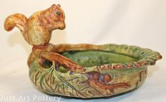 ◭ Penchant for Pottery ◮ Weller Pottery Woodcraft Squirrel Perched on the Rim Bowl from Just Art Pottery