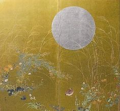 Quail, Moon, and Wild Grasses.  Pigments on gold. screen    Rimpa school, c. 1900  favorite. More info here http://www.nagaantiques.com/home/Inventory/Details/params/page/37/object/177/default.aspx