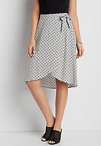 lightweight patterned skirt with side tie