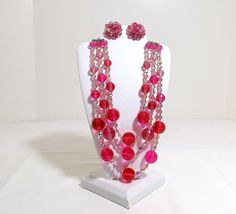 Three Strand Necklace and Clip on Earring Set on Etsy, $169.95