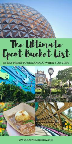 The vacation planning continues with The Ultimate Epcot Bucket List. Between Future World and World Showcase, there is a lot to see while visiting the park! Disney World Resorts, Disney World Tipps, Disney World Secrets, Disney World Vacation Planning, Disney World Food, Disney World Florida, Disney World Parks, Disney Planning, Disney World Tips And Tricks