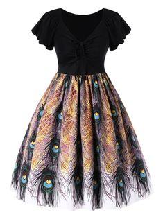 2317b7041e Plus Size Phoenix Tail Print Swing Dress