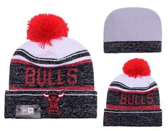 Men s   Women s Chicago Bulls New Era NBA Hardwood Court Snow Dayz Knit  Beanie Pom Hat c2c041e79fb1
