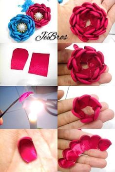 Satin and Silk Ribbon Embroidery - Embroidery Design Guide Easy Fabric Flowers, Diy Lace Ribbon Flowers, Fabric Roses, Fabric Ribbon, Paper Flowers, Flower Headband Tutorial, Ribbon Flower Tutorial, Ribbon Crafts, Flower Crafts