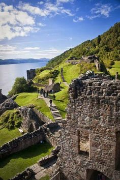The Urquhart Castle beside Loch Ness in the Highlands of Scotland.Founded in the 13th century, Urquhart played a role in the Wars of Scottish Independence in the 14th century.