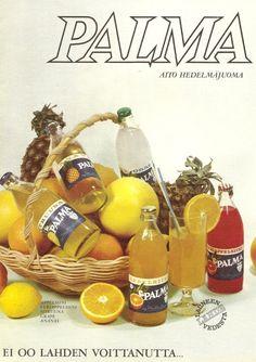 Palma limpparit Old Commercials, Good Old Times, Retro Design, Vintage Ads, Finland, Childhood Memories, Nostalgia, Bottle, Ephemera