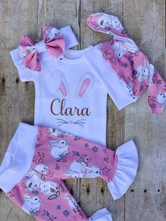 07b02e1ce61bc Baby Girl Personalized Easter Ruffle Outfit, Vintage Bunny Rabbit Face  Easter Set, Pink Pants Set, N