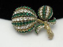 CINER Vintage Floral Brooch Domed Emerald Green Ice Rhinestone http://www.rubylane.com/item/931159-RL-60/CINER-Vintage-Floral-Brooch-Domed