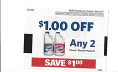 (5) Clorox Bleach Products ~ August 15, 2014 ~ $1.00 on TWO (2)