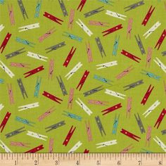 Wash Day Clothespins Green from @fabricdotcom  Designed by The Henley Studio for Andover/Makower UK, this fabric is perfect for quilting, apparel and home décor accents. Colors include rosey red, grey, teal, pink, cream and green.