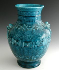 Théodore Deck (1823-1891) Earthenware vase, of 'Chinese' baluster form, impressed with geometric band and having moulded lion ring handles, covered in a 'bleu Deck' turquoise glaze.