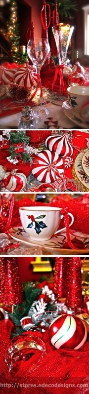 Closeup of an elegant Candy Cane Tablescape