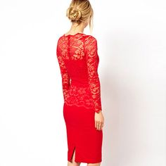 New Collection 2014 Luxury Sext Long Sleeve Women Lace Dresses Brand High Quality Slim Pencil Dress Formal Evening Party Dress Red Bodycon Dress, Red Midi Dress, Long Sleeve Midi Dress, Lace Sheath Dress, Sleeve Dresses, Dress Long, Tight Dresses, Nice Dresses, Ladies Dresses