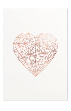 Rose Gold Geometric Heart Line Art Printable by FleurtCollective
