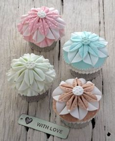 Beautiful Cake Pictures: Pretty Pastel Dahlia Cupcakes with Love - Colorful Cupcakes, Cupcake, Flower Cupcakes - Pretty Cupcakes, Beautiful Cupcakes, Fondant Cupcakes, Cupcake Cakes, Cupcake Ideas, Mini Cakes, Cupcake Art, Cupcake Recipes, Cupcake Pictures