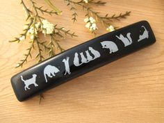 Medium Barrette Black and White Barrette French by ccvalenzo