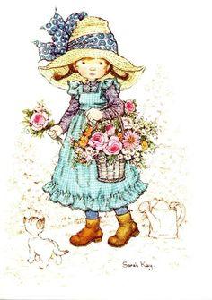 Soloillustratori: Holly Hobbie- Sarah Key e Sambonnet Sarah Key, Holly Hobbie, Mary May, Cute Little Girls, Cute Illustration, Vintage Cards, Vintage Children, Retro, Artwork