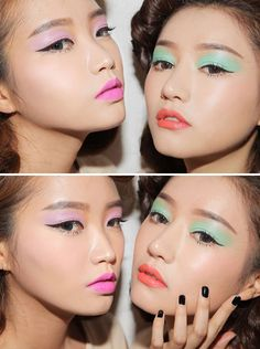 When being subtle doesn't cut it. Go big with full on blocks of pastel eyeshadow and follow it up with a hot lip color