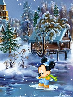 BABY MICKEY MOUSE WINTER ICE SKATING GIF