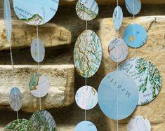 map garland, travel theme wedding, travel theme shower, map decor, going away party, aviation decor, nautical theme, suitcase banner, voyage