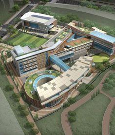 2011년 초 작업 본동 제외 모델링 Concept Architecture, Futuristic Architecture, Architecture Design, Hospital Architecture, School Architecture, School Floor Plan, Kindergarten Design, Hospital Design, 3d Home