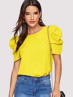 Shein Neon Lime Gathered Sleeve Keyhole Back Blouse White Elegant Short Sleeve Plain Fabric has no stretch Summer Blouses, size features are:Length: Regular,Sleeve Length : Short Sleeve, Fashion News, Fashion Outfits, Womens Fashion, Style Fashion, Summer Shirts, Summer Blouses, Moda Online, Short Sleeve Blouse, Green Dress