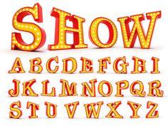Broadway style light bulb alphabet 3d redering