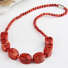 Round Red Coral Beads Necklace Choker Collar