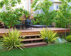 Platform Deck Deck Design LiquidAmber Garden Design San Francisco, CA Landscaping Around Deck, Modern Landscaping, Front Yard Landscaping, Landscaping Ideas, Deck Steps, Garden Steps, Patio Design, Garden Design, Home Design
