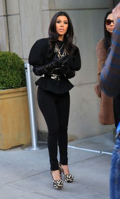 Kourtney Kardashian -- black and leopard print heels.