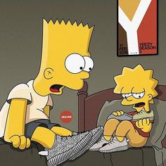 Bart and Lisa Simpson in full flex mode.: by highsnobiety Bart And Lisa Simpson, Homer Simpson, Arte Dope, Dope Art, Simpson Wallpaper Iphone, Cartoon Wallpaper, Nike Wallpaper, The Simpsons, Bart E Lisa