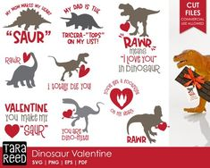 Looking for dinosaur Valentines Day themed designs for crafting? This svg and cut file bundle is for you! Dinosaur Valentines, Valentines For Boys, Valentines Day Shirts, Valentines Design, Valentine Crafts, Silhouette Cameo Projects, Vinyl Projects, Crafty Projects, Personalized T Shirts