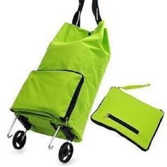 Rolling Bag Collapsible Foldable Wheeled Luggage Carry Suitcase Spinner Green for sale online