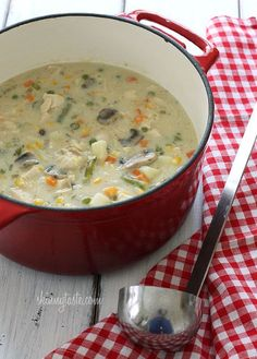 The taste of chicken pot pie, in a soup!   It's a blizzard here today and I'm snowed in! No worries, I have all the ingredients to make this soup and I thought I would share this popular recipe from the archives for those of you who are new followers. Hopefully you'll be inspired to make it this week for your family, trust me you'll be glad you did!     Chicken pot pie is ultimate comfort food and this creamy, chunky soup is loaded with chicken, potatoes, mushrooms, peas, carrots, corn…