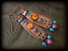 Aztec South West Copper Slab Tila Glass Charm Beaded by YuccaBloom