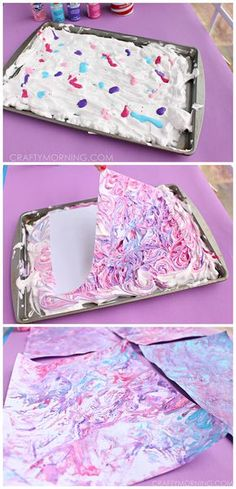 How to make marbled paper using shaving cream and acrylic paint! Super fun craft for kids to do! | CraftyMorning.com