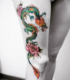 50 Beautiful Graphic Tattoo Designs by Vitaly Kazantsev Floral Dragon Tattoo von Vitaly Kazantsev Dragon Tattoo For Women, Dragon Tattoo Designs, Tattoos For Women, Cute Dragon Tattoo, Neue Tattoos, Body Art Tattoos, Sleeve Tattoos, Hand Tattoos, Small Tattoos