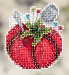 "MH182104 - Tomato Pincushion (2012) - Mill Hill - Seasonal Ornament - Spring Bouquet Kit Includes: Beads, treasures, perforated paper, magnet, floss, needles, chart and instructions. (1 of 6 designs in display Size: 2.5"" x 2.5"""