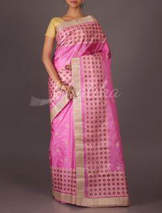Farishta Hand-Embroidered Chequered Boxes Wedding #TussarSilkSaree