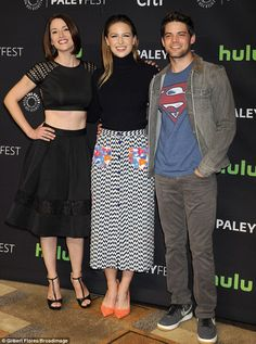 Superman: Benoist - who posed with co-stars Chyler Leigh and Jeremy Jordan - is next sched...