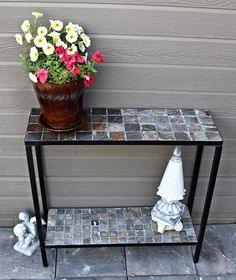 Concrete Outdoor Console Sofa Table With Slate Tile Top