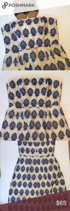 "J. Crew embroidered dress J. Crew embroidered strapless dress. Size 4. Excellent condition. Smoke free home. 100% cotton. Empire waist: 14"". Length: 29.5"". Has two side pockets! DRESS + POCKETS = SCORE J. Crew Dresses"